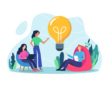 Business Idea Concept Illustration. Bring Ideas Together, Teamwork And Startup Concept. Business Team Working Together Brainstorming Discussing Ideas For Project. Vector In A Flat Style