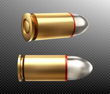 Bullets Copper Nine Mm Shots, Side And Rear View