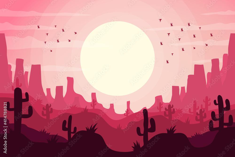Fototapeta Desert landscape. Desert area, sand terrain - Africa, Sahara, or Arizona nature. Wilderness background. Safari. Wild West. Vector illustration.
