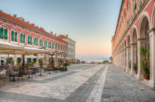 Sunrise View Of The Republic Square In Split, Croatia