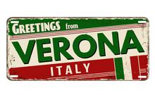 Greetings From Verona Vintage Rusty Metal Plate