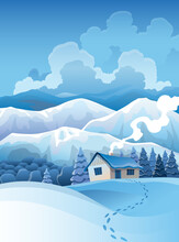 Winter Mountains Snowy Landscape With Pines Forest And Hills On Background. Vector Drawing Of Snow-covered Field On Which Stands The House And Traces Of Walking To It. Horizontal Nature Scene
