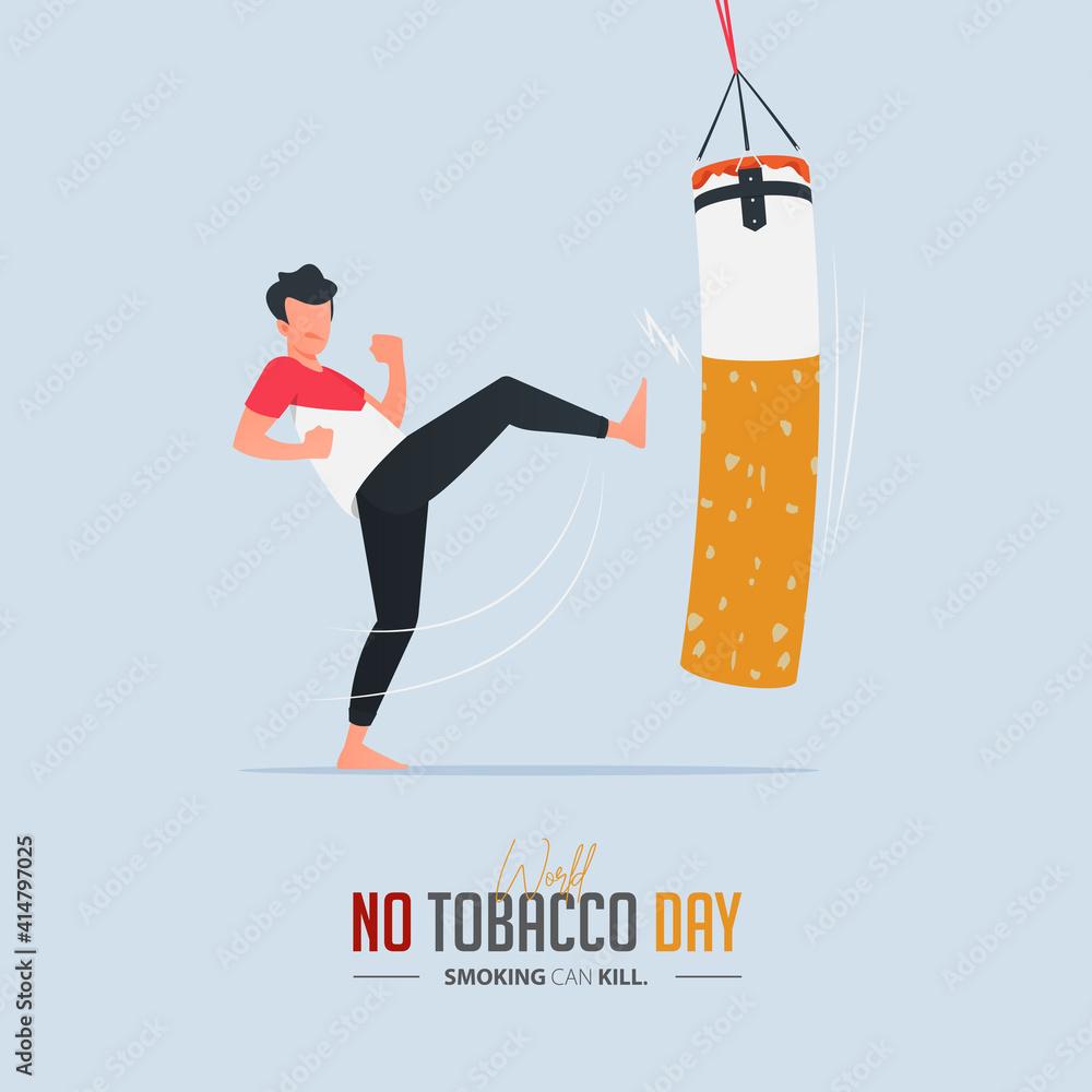 Fototapeta May 31st World No Tobacco Day poster design. Man kicking boxing sandbag defines to man fighting to quit smoking. Stop smoking poster for disease warning. No smoking banner.