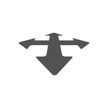 Black Arrows In Four Directions Icon Isolated On White Background. Random. Vector Illustration