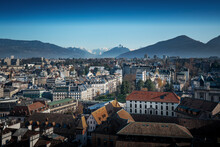 Aerial View Of Geneva With Alps Mountains And Mont Blanc On Background - Geneva, Switzerland