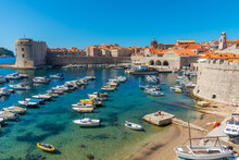 Boats Mooring In The Old Port Of Dubrovnik, Croatia