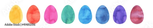 Photo Watercolor illustration pack of colorful Easter eggs: yellow, orange, red, turquoise, blue, violet