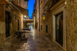 Night view of a narrow street in the historical center of Dubrovnik, Croatia