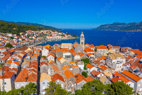 Fototapeta Cathedral of Saint Mark and rooftops of Korcula, Croatia