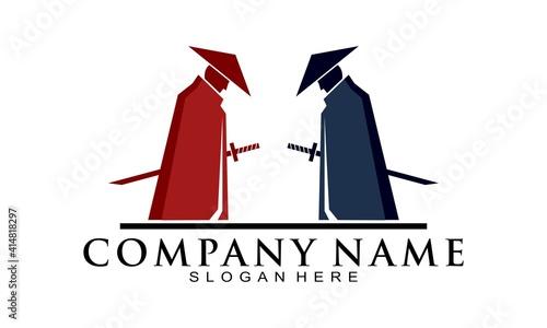 Stampa su Tela Battle of ninja illustration vector logo