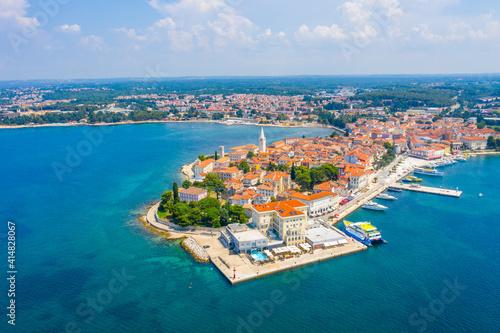 Fotografie, Obraz Aerial view of Croatian town Porec