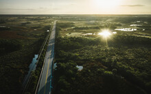 Aerial Capture Of A Sunrise Reflection In The Everglades.