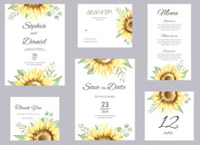 Watercolor Wedding Invitation Cards. Floral Poster, Invite. Elegant Wedding Invitation With Watercolor Floral Elements, Sunflower And Eucalyptus.