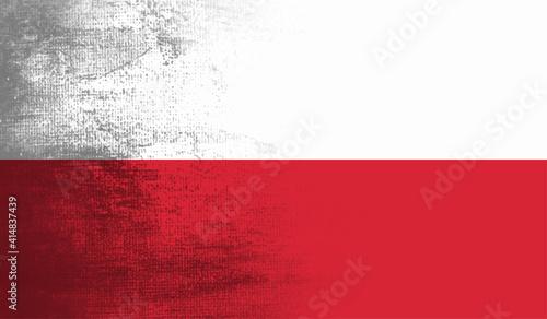 Photographie Grunge Poland flag textured background. Vector illustration