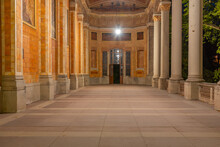 Night View Of Arcade In The Trinkhalle Building In German Spa Town Baden Baden