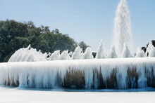 Mecom Fountainfountain Froze Over As A Result Of Abnormal Frost,  Houston, Texas, United States.