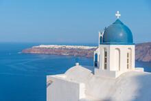 Theoskepasti Church Overlooking Oia Town At Santorini In Greece
