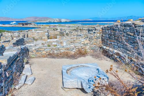 Fotografie, Obraz Ancient ruins at Delos island in Greece