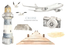 Watercolor Set Of Sea Cruise With Airplane, Lighthouse, Pier, Camera, Seagulls, Sand
