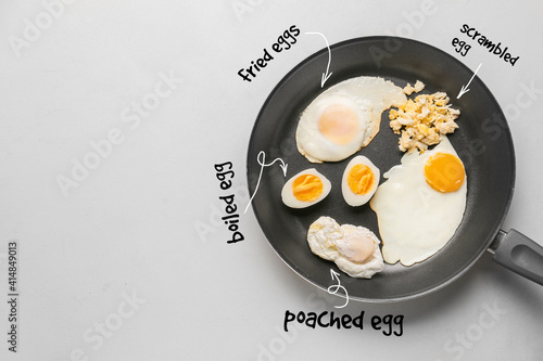 Obraz na plátně Different delicious egg recipes in frying pan on light background
