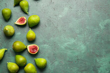 Fresh Green Figs On Color Background