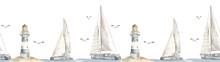 Watercolor Seamless Border Sea Cruise With Yacht, Catamaran, Lighthouse, Seagulls