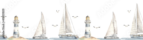 Watercolor seamless border sea cruise with yacht, catamaran, lighthouse, seagull Wallpaper Mural