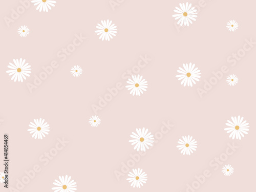Canvas Print Daisy vector pattern. Stylish daisy flower pastel pattern.