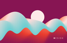 A Big Wave Under The Bright Moon. Abstract Ocean Seascape. Sea Surface. Nature Background. Motion Vector Illustration For Banner, Flyer, Poster, Cover Or Brochure.