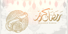 """Ramadan Kareem Greeting Card With Golden Gunner Sketch, Hanging Lantern And Arabic Calligraphy Means """"Holly Ramadan"""". Sketch Hand Drawn Style Isolated On White Background."""