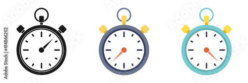 Photo Set of stopwatch icon on a white background. Illustration