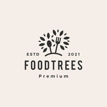 Foot Tree Fork Spoon Hipster Vintage Logo Vector Icon Illustration