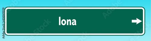 Canvastavla Iona Road Sign