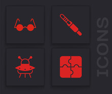 Set Piece Of Puzzle, Eyeglasses, Audio Jack And UFO Flying Spaceship Icon. Vector.
