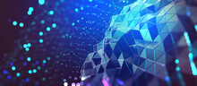 AI And Computer Brain. High Technology, Digital Big Data Concept. Neural Network, Blockchain Cloud Technologies. Colorful 3D Illustration Of Polygonal Network, Cybersecurity And Internet Business
