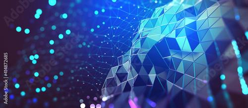 Fototapeta AI and computer brain. High technology, digital big data concept. Neural network, blockchain cloud technologies. Colorful 3D illustration of polygonal network, cybersecurity and internet business obraz