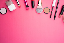 Professional Makeup On A Background. Brushes, Lipstick And Other Products, A Flat Lay With Copy Space