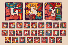 Alphabet In Aztec, Mayan Or Incas Style.
