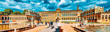 DRESDEN,GERMANY-SEPTEMBER 08,2015:  People In Court Zwinger Palace (Der Dresdner Zwinger)  Art Gallery Of Dresden, Which Was Almost Completely Destroyed During The Second World War. Saxony, Germany.