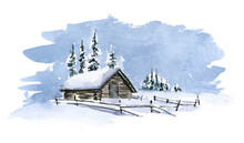 Watercolor Cute Winter Sketch With Country House