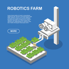 A Robot Checks A Plant In An Aeroponic Setup On A Vertical-growing Robotic Farm. Website Page Template Concept.