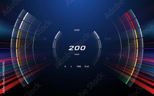 Obraz Digital speedometer with motion effect background - fototapety do salonu