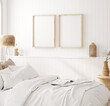 Leinwandbild Motiv Mock up frame in cozy home interior background, coastal style bedroom, 3d render