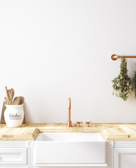 Wall mockup in kitchen interior background, Farmhouse style, 3d render