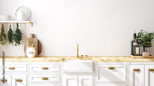 Fototapeta Wall mockup in kitchen interior background, Farmhouse style, 3d render obraz