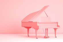Pink Grand Piano In Pink Room