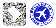 Vector Mosaic Washington District Columbia Map Of Airline Items And Grunge Welcome Badge. Mosaic Geographic Washington District Columbia Map Created As Hole From Rounded Square With Air Jorneys.