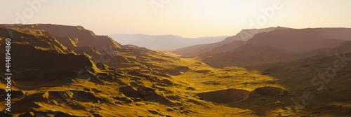 Fototapeta landscape on planet Mars, scenic space desert scene on the red planet