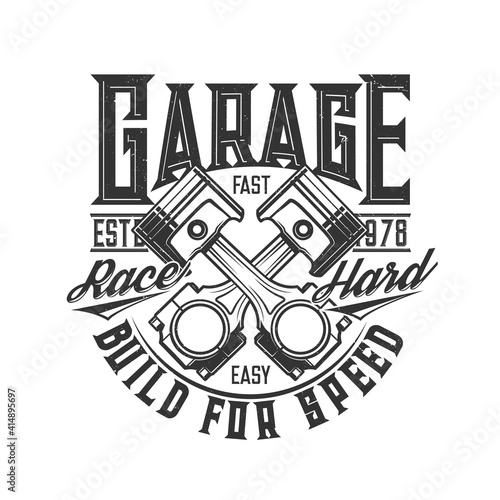 Photo Motorcycle and car custom garage, moto races vector icon