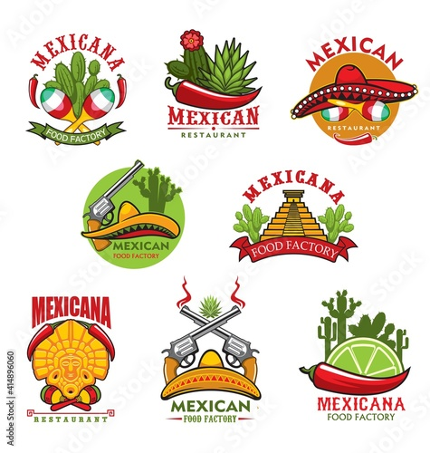 Obraz Mexican restaurant vector icons, cartoon emblems with traditional symbols of Mexico. Cacti, jalapeno chili peppers and sombrero, aztec idol and pyramis, steaming guns, lime slice and maracas signs set - fototapety do salonu